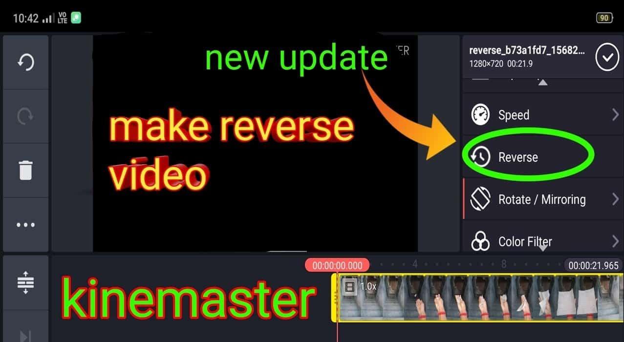 reverse video in kinemaster